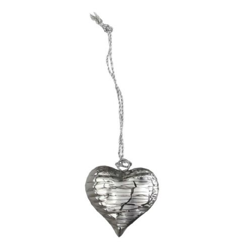 Textured Silver Metal Hanging Heart Small